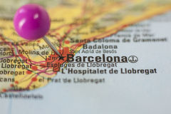 Pushpin marking on Barcelona, Spain Royalty Free Stock Photography