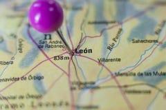 Pushpin marking on Leon, Spain Stock Photography