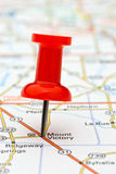 Pushpin marking location on map. Red pushpin marking a location on a road map, Mount Victory, selective focus Stock Photos