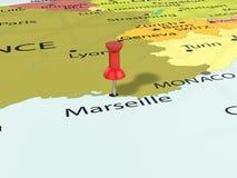Pushpin on Marseille map. Background. 3d illustration Stock Photos