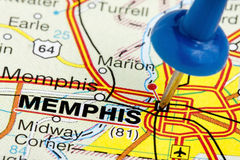 Pushpin Memphis Tennessee Map Closeup. Memphis Tennessee highlighted with blue push pin on atlas or map closeup Stock Photo