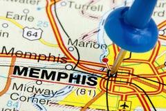Pushpin Memphis Tennessee mapy zbliżenie Zdjęcie Stock