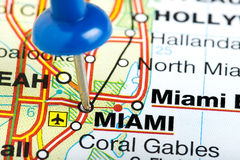 Pushpin Miami Florida Map. Miami Florida highlighted with blue push pin on atlas or map Royalty Free Stock Image
