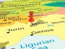 Pushpin on Milan map. Background. 3d illustration Royalty Free Stock Photo