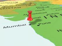 Pushpin on Mumbai map. Background. 3d illustration Stock Photography