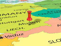 Pushpin on Munich map. Background. 3d illustration Royalty Free Stock Photo
