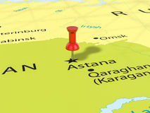 Pushpin na Astana mapie Zdjęcie Royalty Free