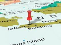 Pushpin na Dżakarta mapie Fotografia Stock