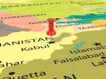 Pushpin na Kabulskiej mapie Zdjęcia Royalty Free