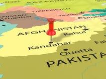 Pushpin na Kandahar mapie Zdjęcie Stock
