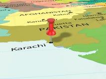 Pushpin na Karachi mapie Obraz Stock