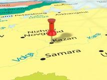 Pushpin na Kazan mapie Obrazy Stock