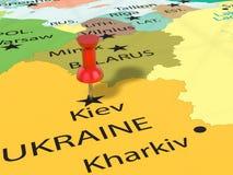 Pushpin na Kijowskiej mapie Obraz Stock