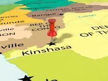 Pushpin na Kinshasa mapie Obraz Stock