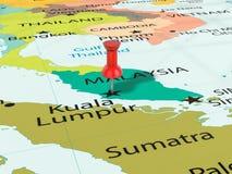 Pushpin na Kuala Lumpur mapie Obrazy Royalty Free