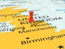 Pushpin na Leeds mapie Obraz Stock
