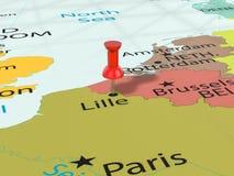 Pushpin na Lille mapie Obrazy Royalty Free