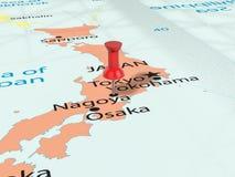 Pushpin on Nagoya map Royalty Free Stock Photography