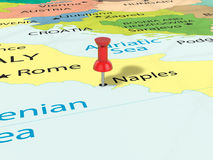 Pushpin on Naples map. Background. 3d illustration Royalty Free Stock Images