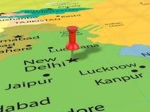 Pushpin on New Delhi map Royalty Free Stock Photography