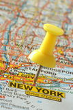 Pushpin in new york map. Push pin in a street map of New York City Stock Photo