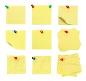 Pushpin and note. Picture of different kinds of isolated pushpin and note with white background Stock Photography