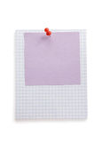 Pushpin and note paper on white Royalty Free Stock Photos
