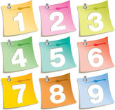 Pushpin notes with numbers Stock Images