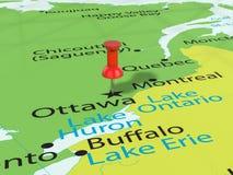 Pushpin on Ottawa map Royalty Free Stock Images