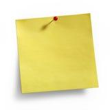 Pushpin pegajoso amarelo do vermelho da nota Fotografia de Stock