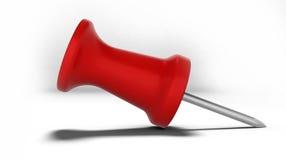 Pushpin plástico vermelho - isolado - sombra realística Imagens de Stock