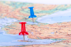 Pushpin Pointing on Map. Pushpins showing and pointing the location of destination point on map Ankara, Turkey Royalty Free Stock Photo