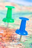 Pushpin Pointing on Map. Pushpins showing and pointing the location of destination point on map Ankara, Turkey Royalty Free Stock Images