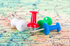 Pushpin Pointing on Map. Pushpins showing and pointing the location of destination point on map Ankara, Turkey Stock Photo