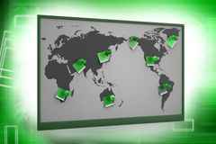 Pushpin pointing place on a paper map Stock Images