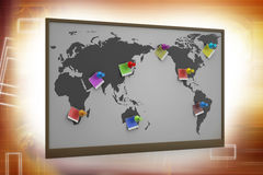 Pushpin pointing place on a paper map Royalty Free Stock Photo