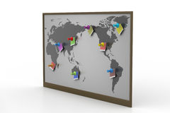 Pushpin pointing place on a paper map Stock Photo