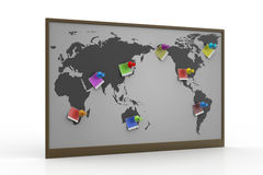 Pushpin pointing place on a paper map Stock Image