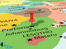 Pushpin on Pretoria map Royalty Free Stock Images