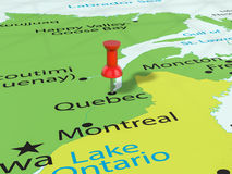 Pushpin on Quebec map. Background. 3d illustration Stock Photography
