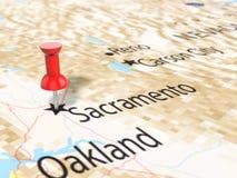 Pushpin on Sacramento map. Background. 3d illustration Royalty Free Stock Images