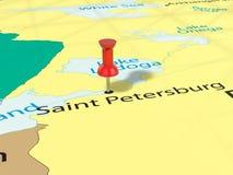 Pushpin on Saint Petersburg map. Background. 3d illustration Royalty Free Stock Photo