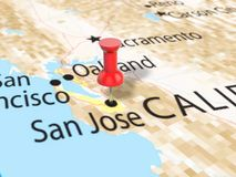 Pushpin on San Jose map. Background. 3d illustration Royalty Free Stock Image