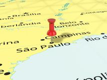 Pushpin on Sao Paulo map. Background. 3d illustration Royalty Free Stock Image