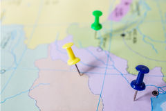 pushpin showing the location of a destination point Stock Image