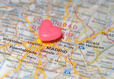 Pushpin sobre o mapa de Madrid Fotografia de Stock Royalty Free