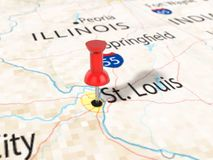 Pushpin on St Louis map. Background. 3d illustration Stock Images