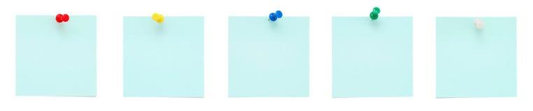 pushpins голубых примечаний установили липкой Стоковое фото RF