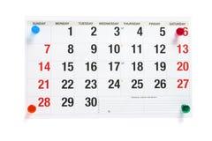pushpins страницы календара Стоковое Фото