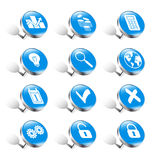 Pushpins business icons Royalty Free Stock Images